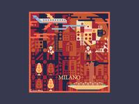 Square Illustration - Milan (Italy)