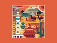 Square Illustration - Morocco (Africa)
