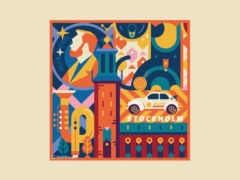 Square Illustration - Stockholm (Sweden) travel square design graphic illustration culture city sweden stockholm