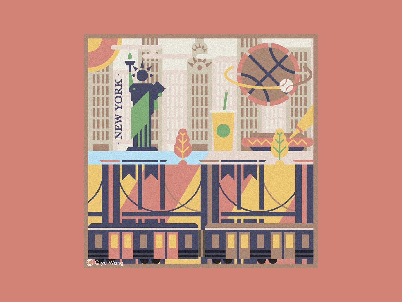 Square Illustration - New York (USA) usa newyork joyful graphic design colorful travel square design city culture graphic illustration