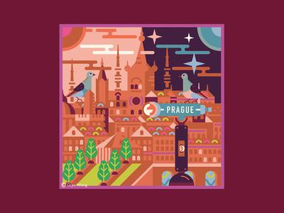 Square Illustration - Prague (Czech)