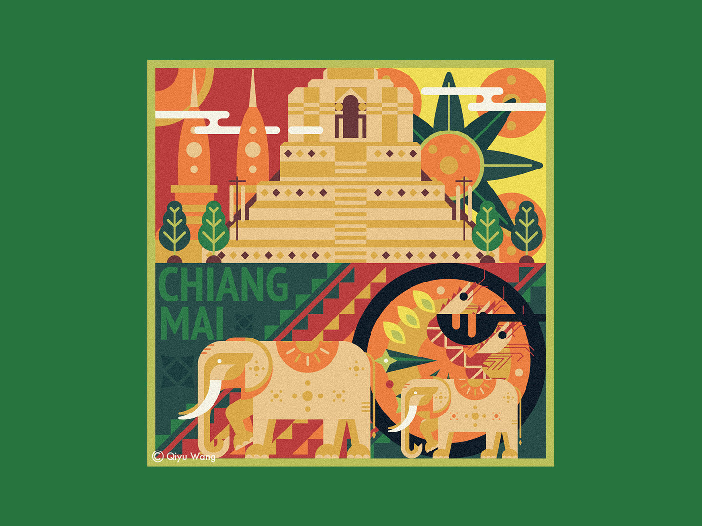 Square Illustration - Chiang Mai (Thailand) thailand chiangmai art joyful colorful travel square culture design city graphic illustration