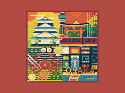Square Illustration - Osaka (Japan)