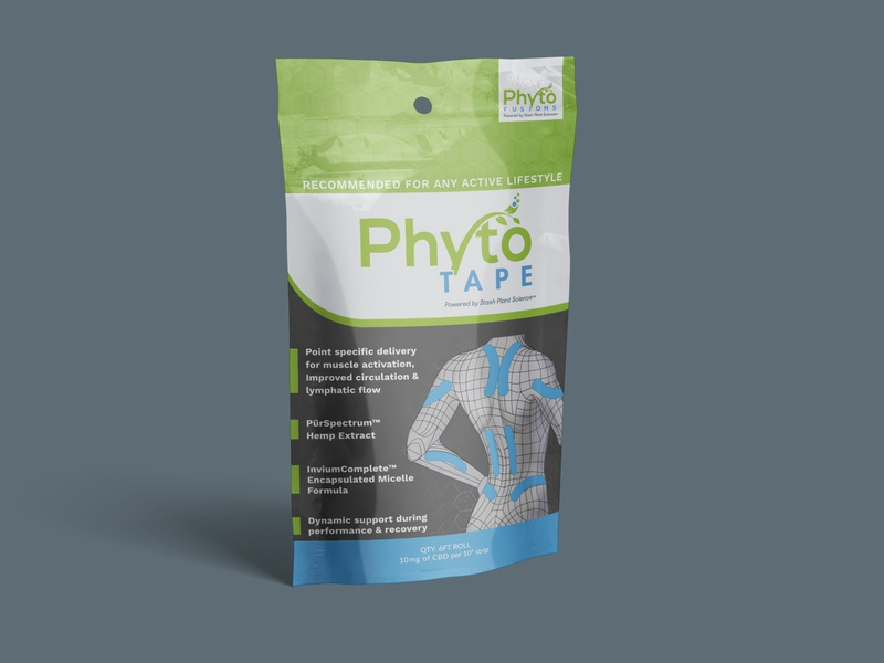 Phytotape CBD kinesiology sports tape Package Design product design muscle active pouch mockup body workout health illustration wellness scientific illustration biomechanics scientific graphic design graphic package design hemp cbd oil cbd sports kinesiology