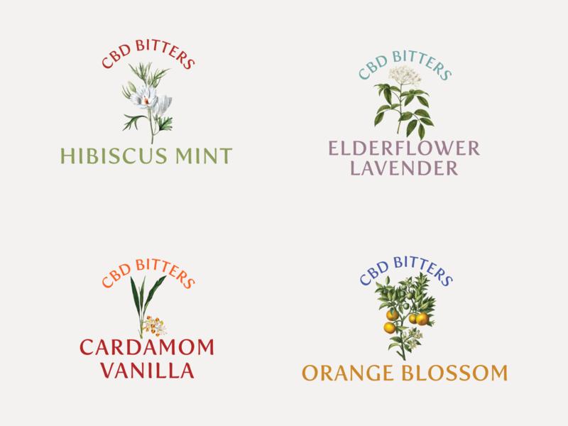 CBD Bitters flower vintage illustration vintage logo illustraion brand design package design cbd design brand identity