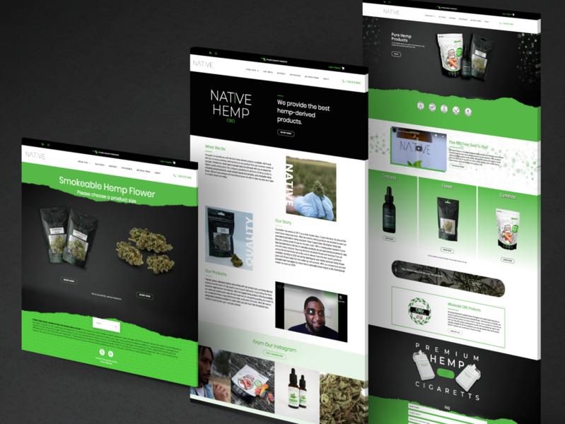 CBD eCommerce Web Design - The Native Hemp wordpress woocommerce hemp brand identity website layout landing page website design web design website cbd
