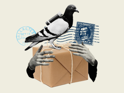 package carrier pigeon collage cutout stamp travel mixed media art mixed media collage pigeon carrier pigeon transportation package