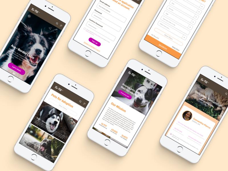 Fur Pets Responsive Website interaction design responsive design ux designer adoption dogs animals pets website app design ui ux