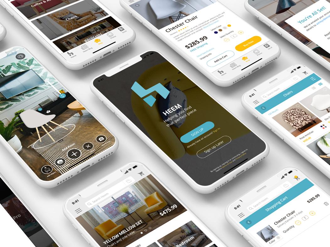 Heem Cover1 heem ux ui design concept app augmented reality furniture app interaction design branding app ux ui