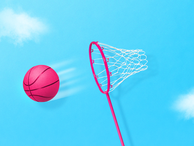 Trying to catch some goals net basket minimal funny pink dribbble butterfly debutshot creative digital photoshop photomontage