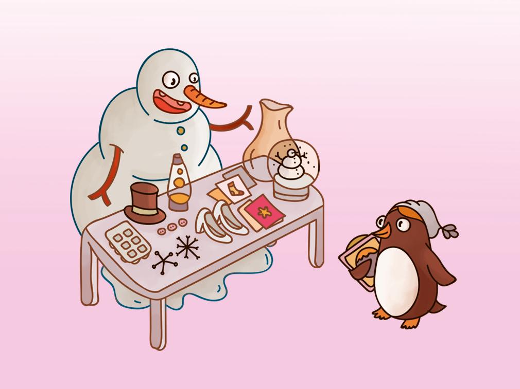 Christmas Fair photoshop sketch fair vintage drawing illustration art toys penguins snowman christmas