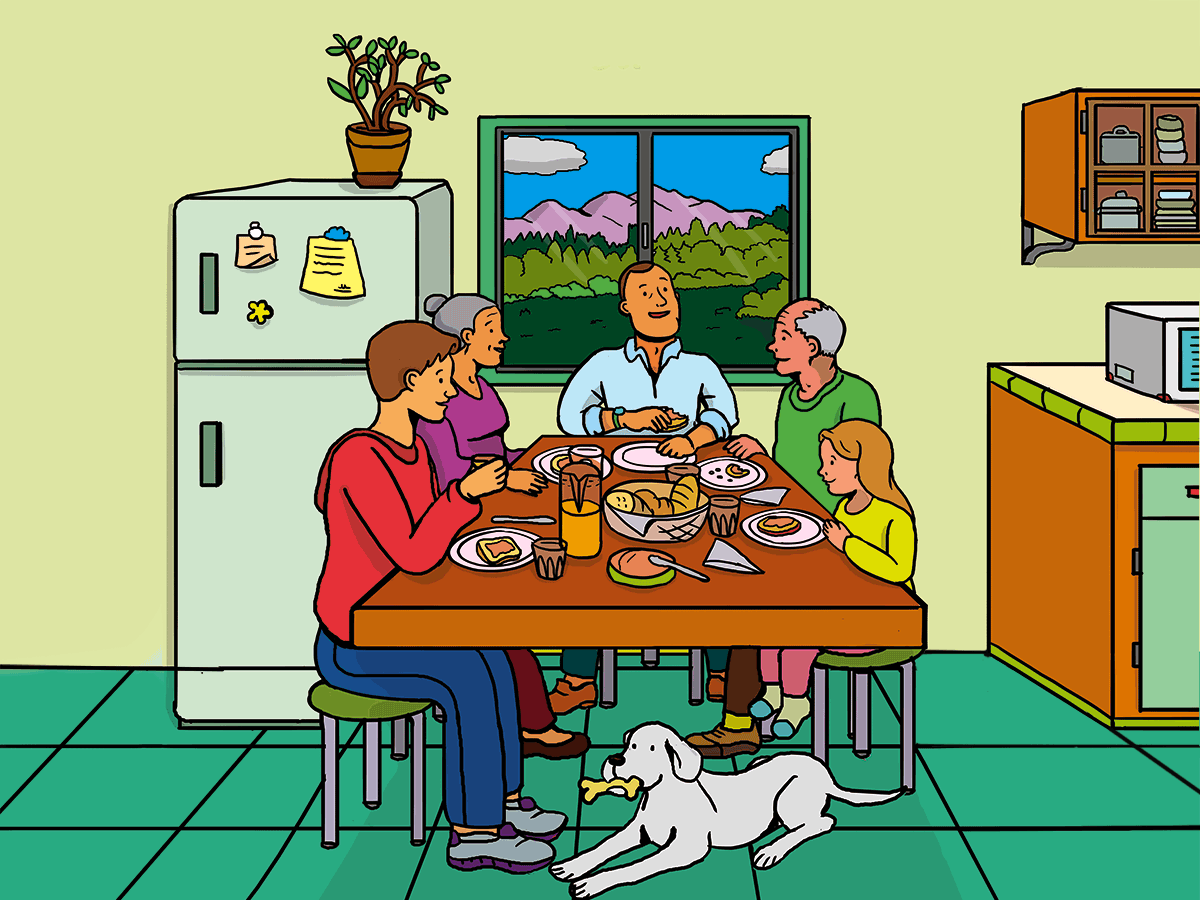 Family's Breakfast characters dog breakfast drawing photoshop art doodle happy food kitchen family illustration art illustration