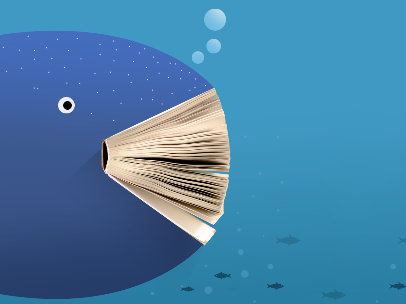 Book 5 reading bookworm underwater photoshop creature illustration whale sea bookstore book