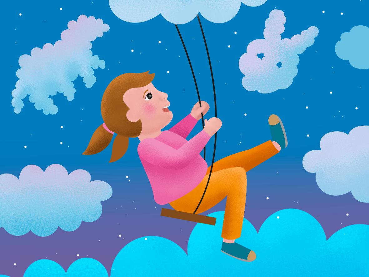 Children's day dreams swing clounds vector illustration art illustration kids children imagination