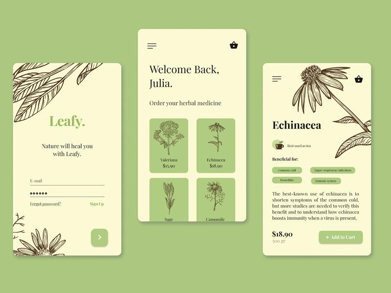 Leafy - Medicinal Herbs App mobile design ux design ui ux ui design shop mobile ui menu leaf herbs herbal design app