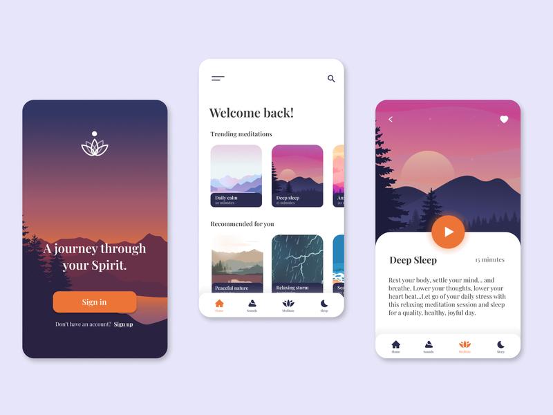 Spirit -  Meditation App meditation app spirit mindfulness meditation ux design ux ui design mobile design mobile ui ui design app
