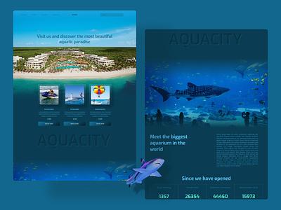 Aquacity sports aquarium aquatic product design web design webdesign uidesign uiux ui design figmadesign figma