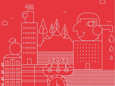 Great Minds Brand - Cityscape vector illustration