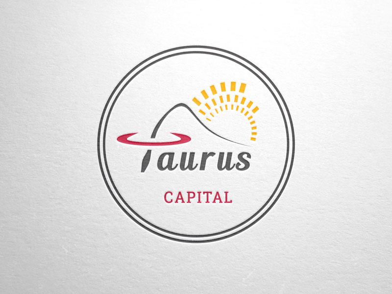 Logo Company Stamp For Taurus Capital Part 3 4 Round Sunrise Bull