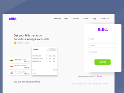 001 DailyUI - Signup page minimal dailyui landing page billed website signup