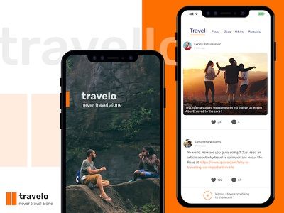 Travelo app - Never Travel Alone splash newsfeed feed app mobile travel