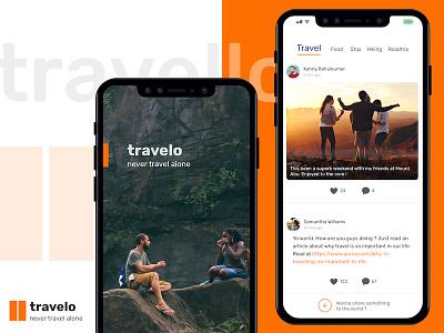 Travelo app - Never Travel Alone splash newsfeed feed app mobile travel