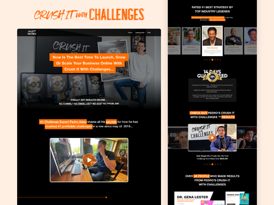 Crush It With Challenges Redesign Concept training business coaching marketing pedro adao landingpage homepage web design concept ui concept ui design