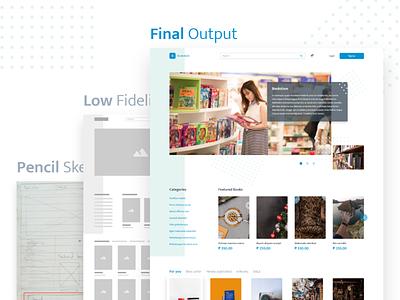 Online Bookstore Web Concept web design pencil sketch low fidelity ui concept online store books ui design