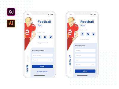Football Login & Signup Concept signup page login page mobile app ui design ui concept football app