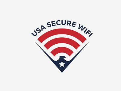 USA SECURE WIFI patriotic secure wifi usa flag usa eagle wifi ads logo
