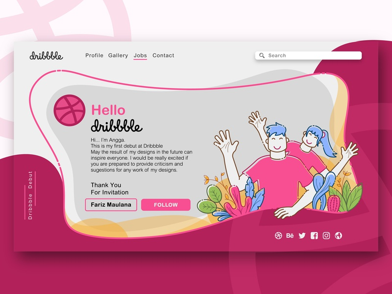 My first dribbble debut website web ui illustration debut shot design