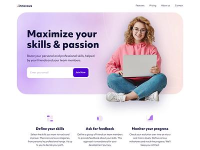 Personal Development Platform Website animation landing page ux ui design website