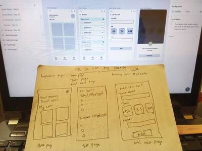 Hand sketch and wireframe of a To-do list app design