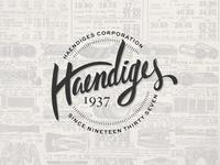 Haendiges Corp Brand Project: Concept 1 - Hand drawn Retro