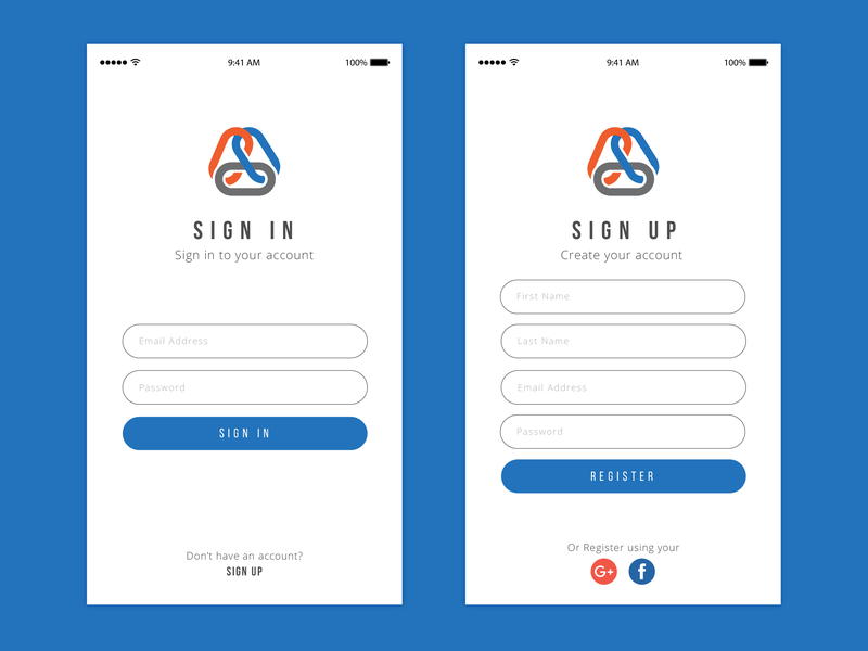 Login Screen blue sign up page sign up form sign in screen sign in page sign in form mobile app design minimalistic design minimal app design logo login page login iphone app design iphone app icon green design clean app design background 2d