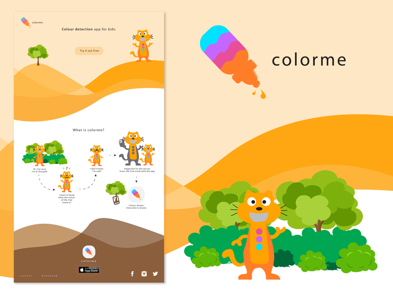 colorme colorful cat cartoon website landing page web landing page black logo minimal web design minimal app design logo landing page concept landing page landing design landing icon design clean web design clean app design branding background 2d
