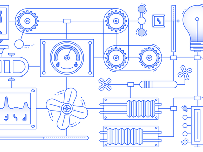 Machine 2.0 rube goldberg editorial illustration