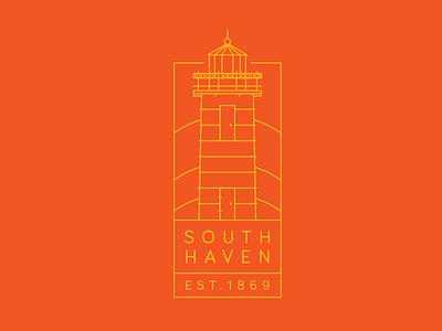 South Haven mi emblem illustration lighthouse michigan south haven