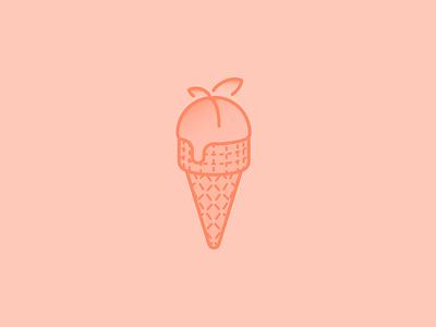 Peach Ice Cream Day ice cream icon illustration holiday peach