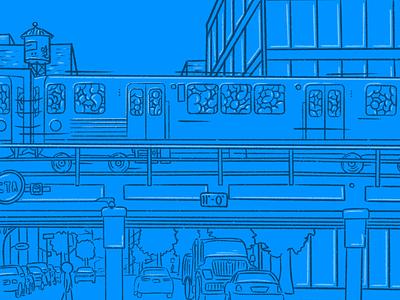 Blue Line chicago choo choo illustration train