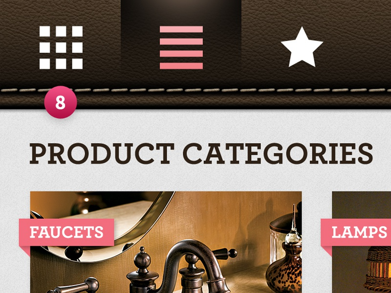 Furniture App — Categories app tablet interface interactive furniture brown pink leather ios stitches ipad ux ui mobile skeuomorphism