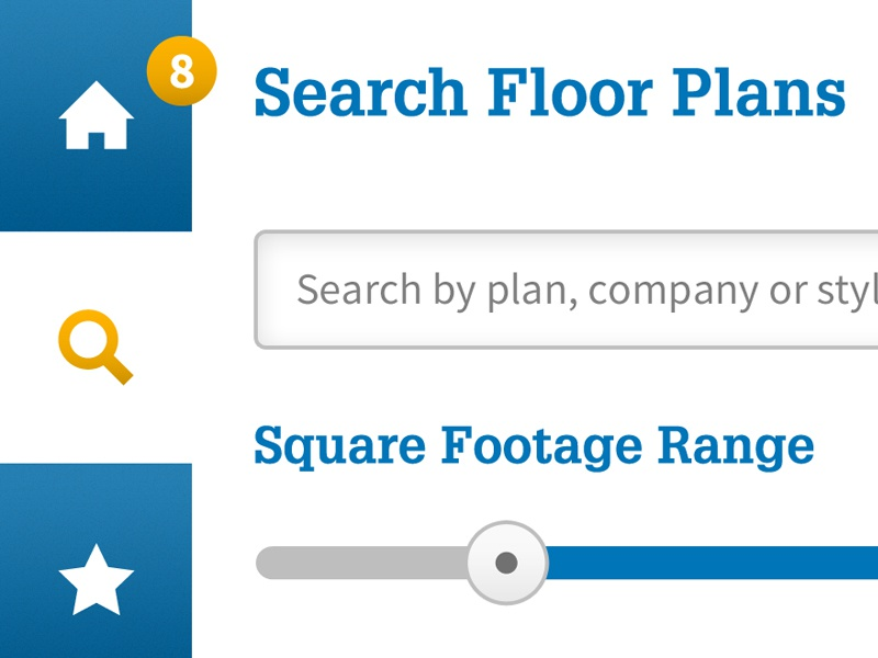 Floor Plans App — Search app tablet interface interactive floor plan blue yellow mobile ux ui icons slider navigation
