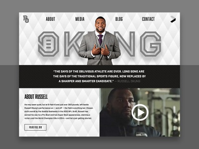 Russell Okung Home Page gray black  white black sports american football football ux desktop user interface website ui