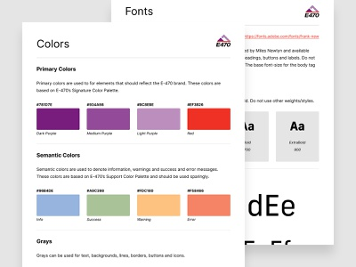 E-470 Design System typography style guide design tokens ui components visual language design guidelines guidelines color palette colors design components pattern library components ux ui design system