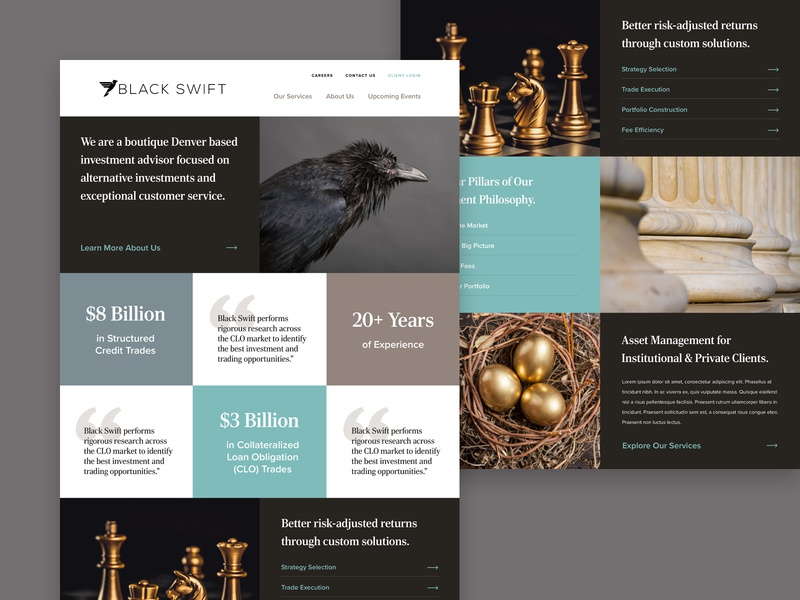 Black Swift Group Concept investments money finances financial slate brown gold teal clean concept interactive user experience desktop user interface website ux ui