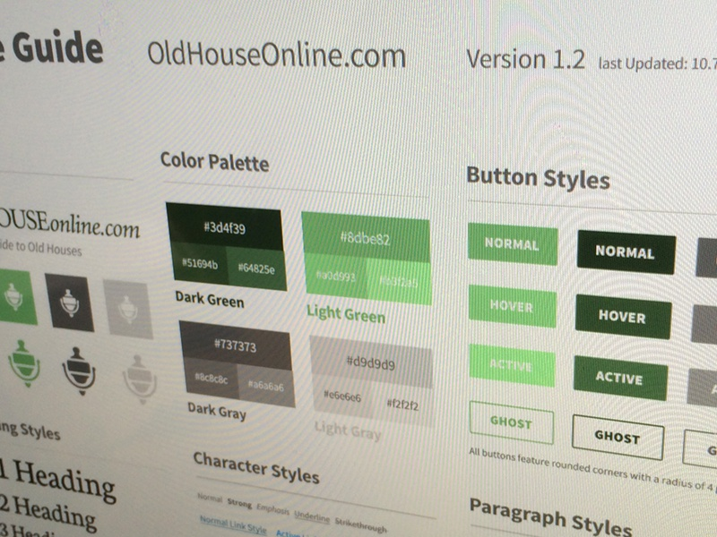 Old House Online — UI Style Guide ui interface style styles guide color type typography button buttons