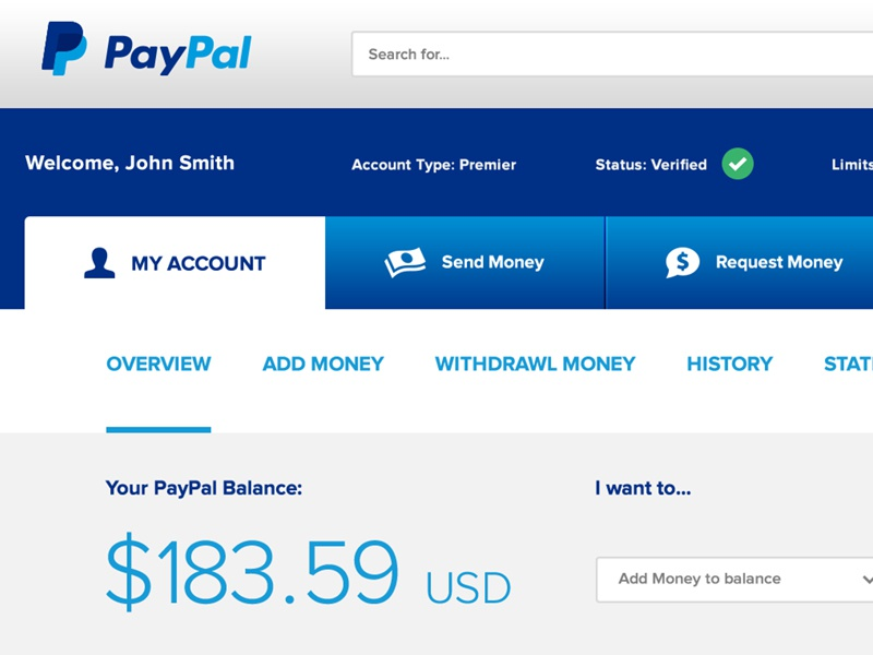 PayPal Dashboard Redesign Concept paypal redesign ui ux interface blue dashboard concept tables tabs icons buttons