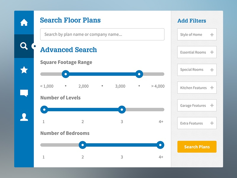 Floor Plans App — Search interface ui ux interactive mobile app icons blue tablet navigation yellow slider