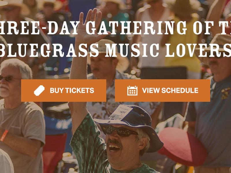 Huck Finn Jubilee — Home Page bluegrass user interface user experience festival music visual design ui ux marketing desktop website