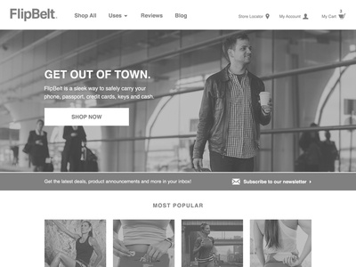 Desktop wireframe for online retailer